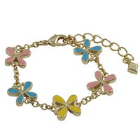 Luxiro Gold Finish Children's Multi-color Enamel Butterfly Bracelet - Pink