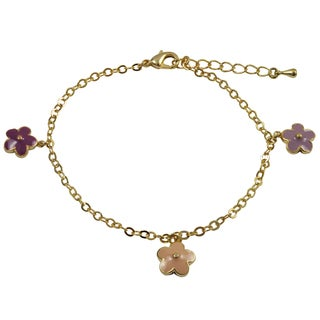 Luxiro Gold Finish Children's Multi-color Enamel Flower Charm Bracelet - Pink