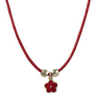 Luxiro Gold Finish Girl's Red Enamel Flower Charm Cord Necklace