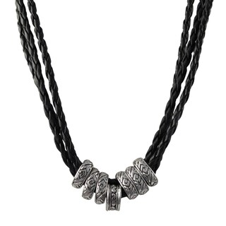 Luxiro Rhodium Finish Ethnic Tribal Beads Faux Leather Braided Rope Necklace