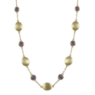 Luxiro Brushed Gold Finish Multi-color Cubic Zirconia Coin Necklace