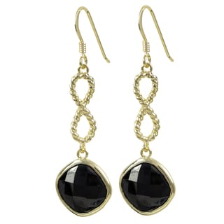 Luxiro Gold Finish Black Cubic Zirconia Infinity Dangle Earrings