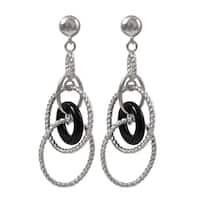 Luxiro Rhodium Finish Black Circle Braided Oval Dangle Earrings - Silver