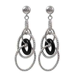 Luxiro Rhodium Finish Black Circle Braided Oval Dangle Earrings - Silver