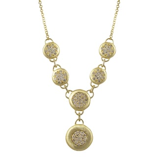 Luxiro Brushed Gold Finish Pave Cubic Zirconia Circle Statement Necklace
