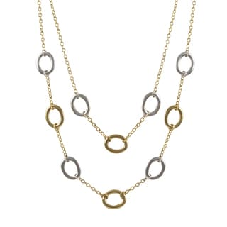 Luxiro Two-tone Gold Finish Ovals Two-row Station Necklace