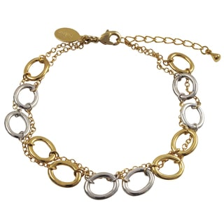 Luxiro Two-tone Gold Finish Ovals 2-row Bracelet