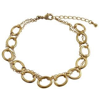 Luxiro Two-tone Gold Finish Ovals 2-row Bracelet