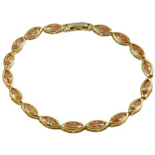Luxiro Gold Finish Champagne Cubic Zirconia Marquise Bracelet