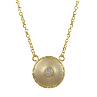 Luxiro Matte Gold Finish Cubic Zirconia Circle Medallion Necklace
