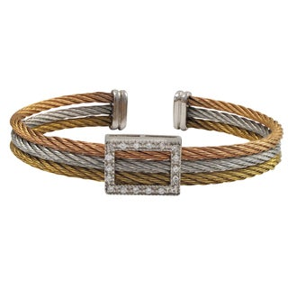 Luxiro Tri-color Gold Finish Cubic Zirconia Stacked Cuff Bangle Bracelet