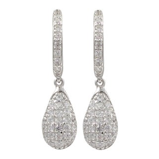 Luxiro Gold Finish Sterling Silver Pave Cubic Zirconia Teardrop Earrings
