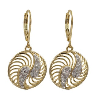Luxiro Gold Finish White Crystals Spiral Circle Dangle Earrings