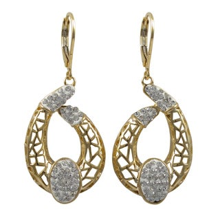 Luxiro Gold Finish White Crystals Mosaic Crescent Dangle Earrings