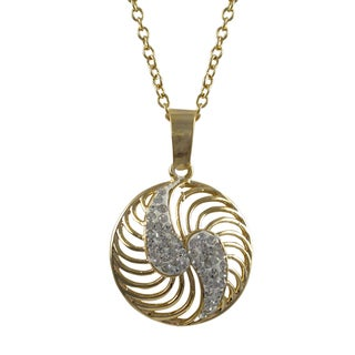 Luxiro Gold Finish White Crystals Spiral Circle Pendant Necklace