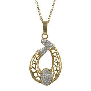 Luxiro Gold Finish White Crystals Mosaic Crescent Pendant Necklace