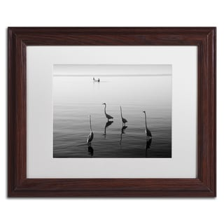Moises Levy '4 Herons and Boat' White Matte, Wood Framed Canvas Wall Art