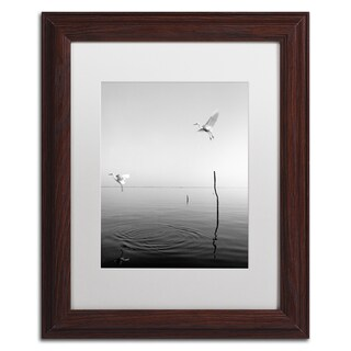 Moises Levy 'Flying' White Matte, Wood Framed Canvas Wall Art