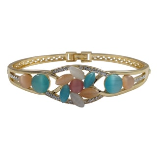 Luxiro Gold Finish Multi-color Faux Cat Eye and Crystal Bangle Bracelet