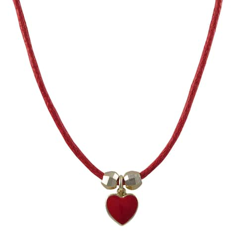 Luxiro Gold Finish Children's Red Enamel Heart Charm Cord Necklace