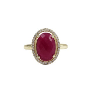 Luxiro Gold Finish Sterling Silver Fuchsia Jade Semi-precious Gemstone Ring