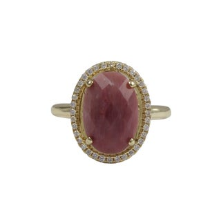 Luxiro Gold Finish Sterling Silver Pink Rhodonite Semi-precious Gemstone Ring