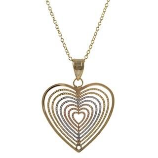 Luxiro Tri-color Gold Finish Concentric Heart Pendant Necklace