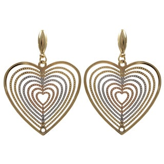 Luxiro Tri-color Gold Finish Concentric Heart Dangle Earrings