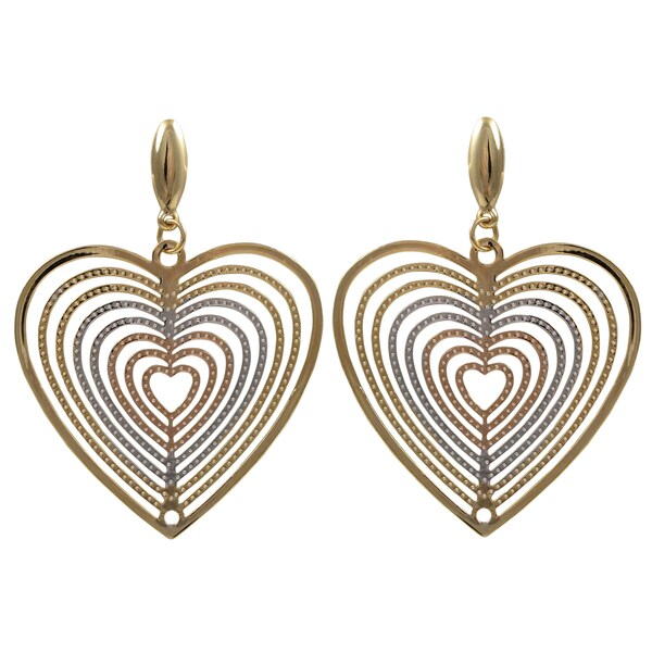 Luxiro Tri-color Gold Finish Concentric Heart Dangle Earrings