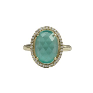 Luxiro Gold Finish Sterling Silver Aqua Blue Cats Eye Semi-precious Gemstone Ring (3 options available)