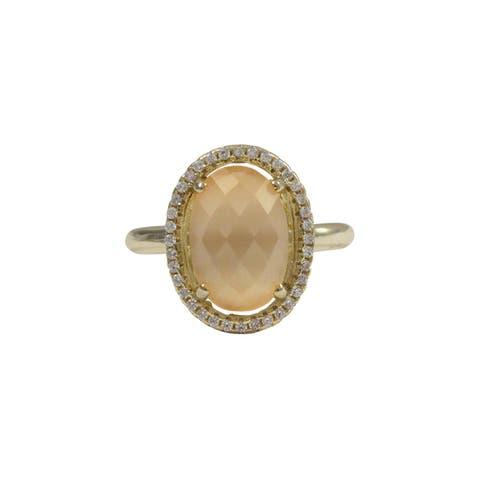 Luxiro Gold Finish Sterling Silver Peach Cats Eye Semi-precious Gemstone Ring - Cornsilk