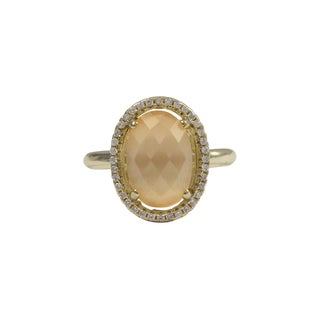 Luxiro Gold Finish Sterling Silver Peach Cats Eye Semi-precious Gemstone Ring