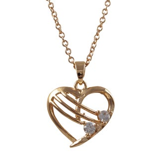 Luxiro Rose Gold Finish Cubic Zirconia Children's Heart Pendant Necklace