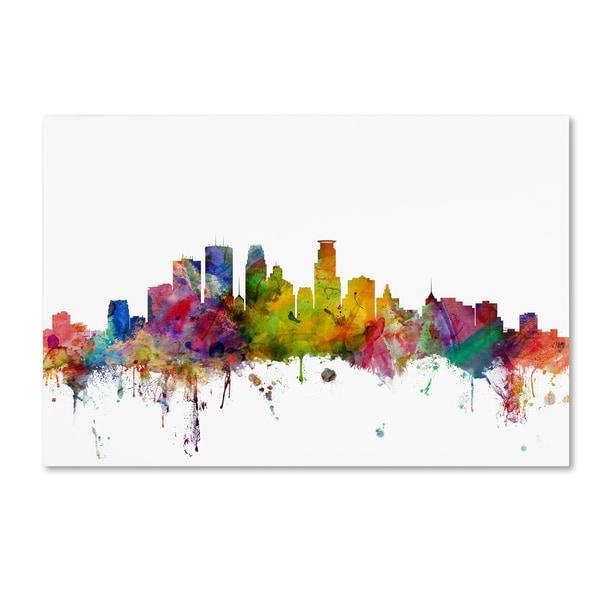 Shop Michael Tompsett \'Minneapolis Minnesota Skyline\' Canvas Wall ...