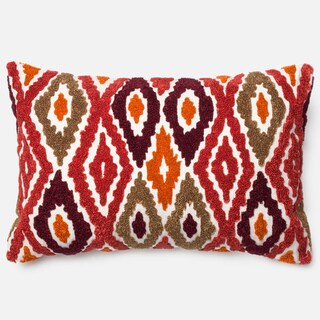 """Embroidered Abstract Diamond Red/ Orange Down Feather or Polyester Filled Throw Pillow or Pillow Cover (13"""" x 21"""")"""