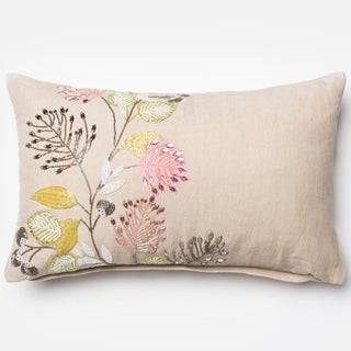 "Hand-beaded Floral Natural Down Feather or Polyester Filled Throw Pillow or Pillow Cover (13"" x 21"")"