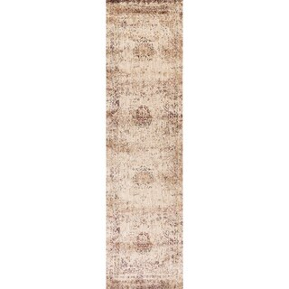 "Traditional Ivory/ Multi Floral Distressed Runner Rug - 2'7"" x 10' Runner"