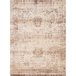 """Traditional Ivory/ Multi Floral Distressed Rug - 5'3"""" x 7'8"""""""