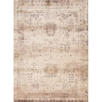 "Traditional Ivory/ Multi Floral Distressed Rug - 5'3"" x 7'8"""