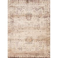 Traditional Ivory/ Multi Floral Distressed Rug - 6'7 x 9'2