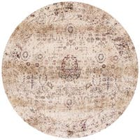 Traditional Ivory/ Multi Floral Distressed Round Rug - 7'10 x 7'10