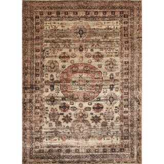 "Traditional Brown/ Multi Medallion Distressed Rug - 2'7"" x 4'"