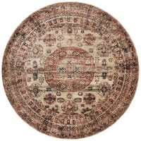 "Traditional Brown/ Multi Medallion Distressed Round Rug - 5'3"" x 5'3"""