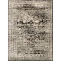 Traditional Grey/ Brown Medallion Distressed Rug - 6'7 x 9'2