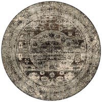 Traditional Grey/ Brown Medallion Distressed Runner Rug - 5'3 x 5'3