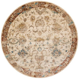"Traditional Antique Ivory/ Rust Floral Distressed Round Rug - 7'10"" x 7'10"" Round"