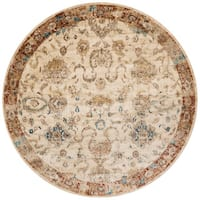 Traditional Antique Ivory/ Rust Floral Distressed Round Rug - 7'10 x 7'10