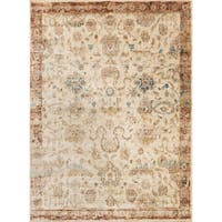 Traditional Antique Ivory/ Rust Floral Distressed Rug - 6'7 x 9'2