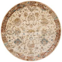Traditional Antique Ivory/ Rust Floral Distressed Round Rug - 5'3 x 5'3