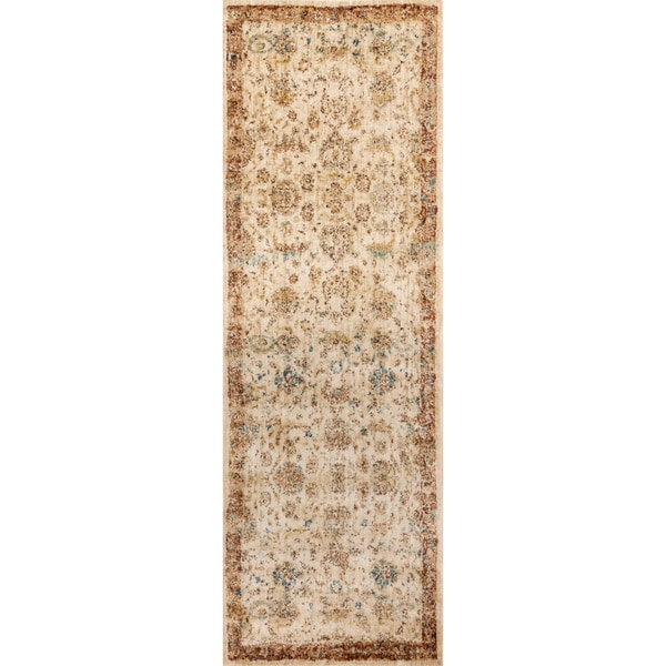 Shop Traditional Antique Ivory Rust Floral Distressed